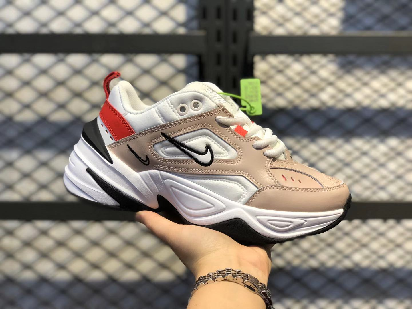 Nike WMNS M2K Tekno Fossil Stone/Summit White Sport Shoes In Stock AO3108-205