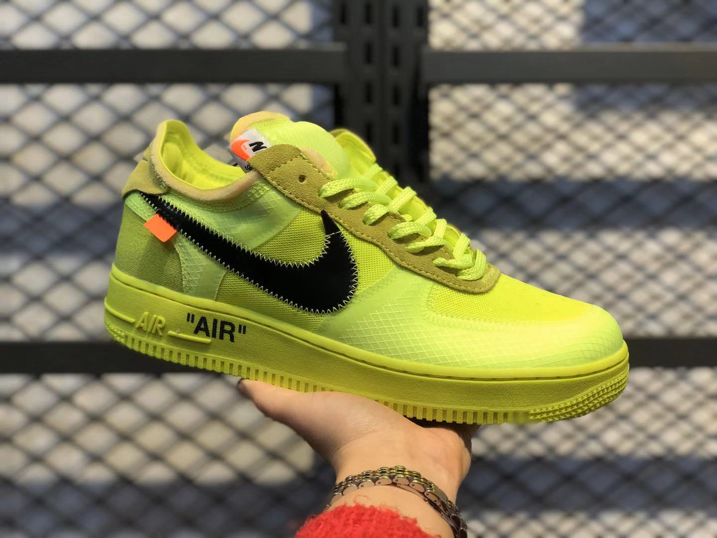 Off-White x Nike Air Force 1 Low Volt/Cone-Black-Hyper Jade AO4606-700