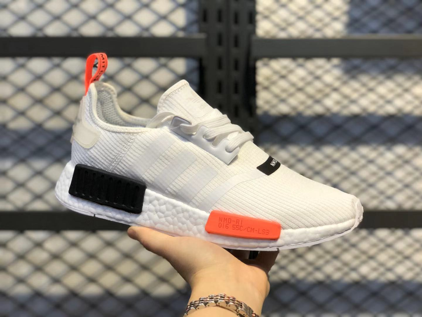 2020 Buy Adidas NMD R1 Cloud White/Core Black-Lush Red Running Shoes TS1901