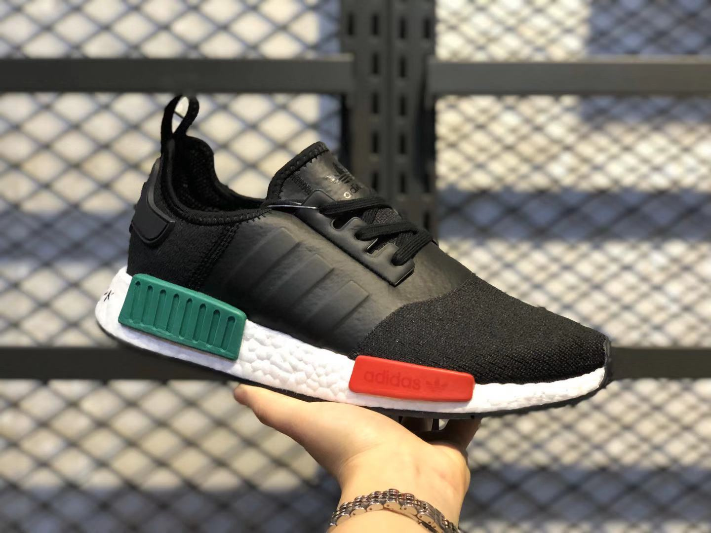 Adidas NMD R1 Core Black/Glory Green-Lush Red Running Shoes In Stock EF4260