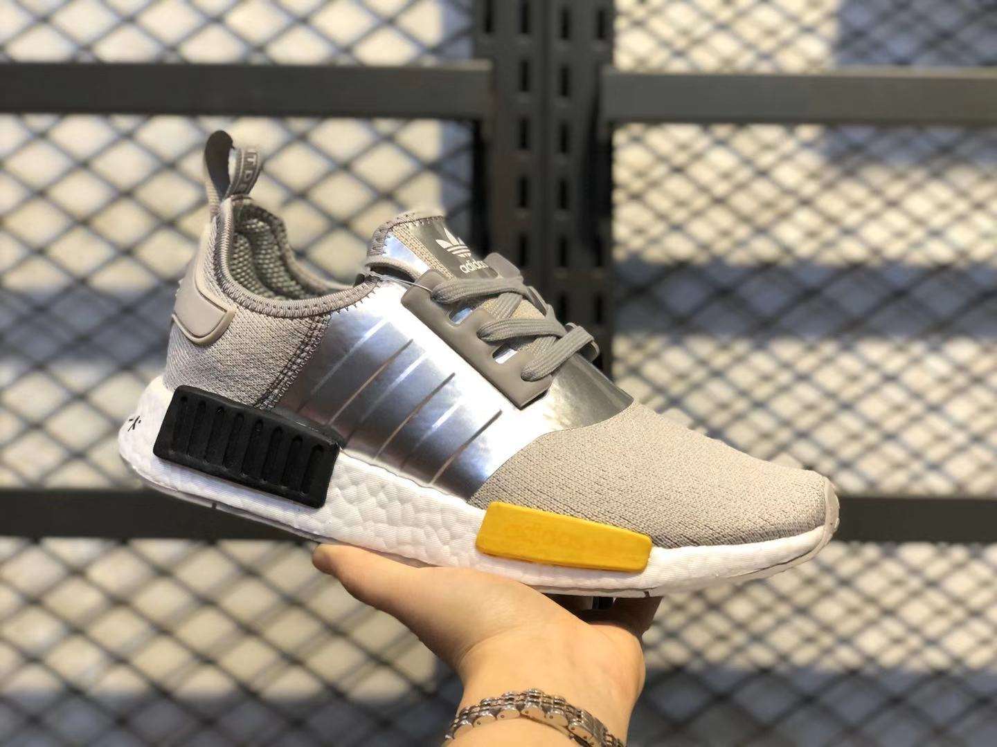 Adidas NMD R1 Metal Grey/Yellow-Core Black Running Shoes Cheap Price EF4261