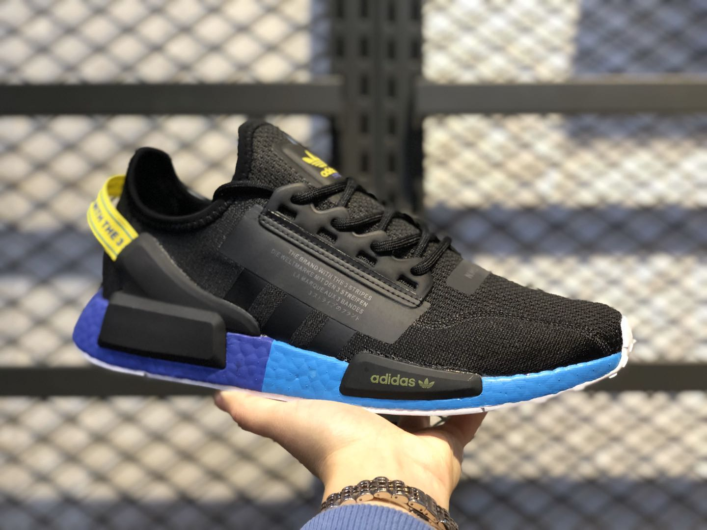 """Adidas NMD R-1 """"Energy Of Color"""" Core Black/Carbon-Yellow FX4147"""
