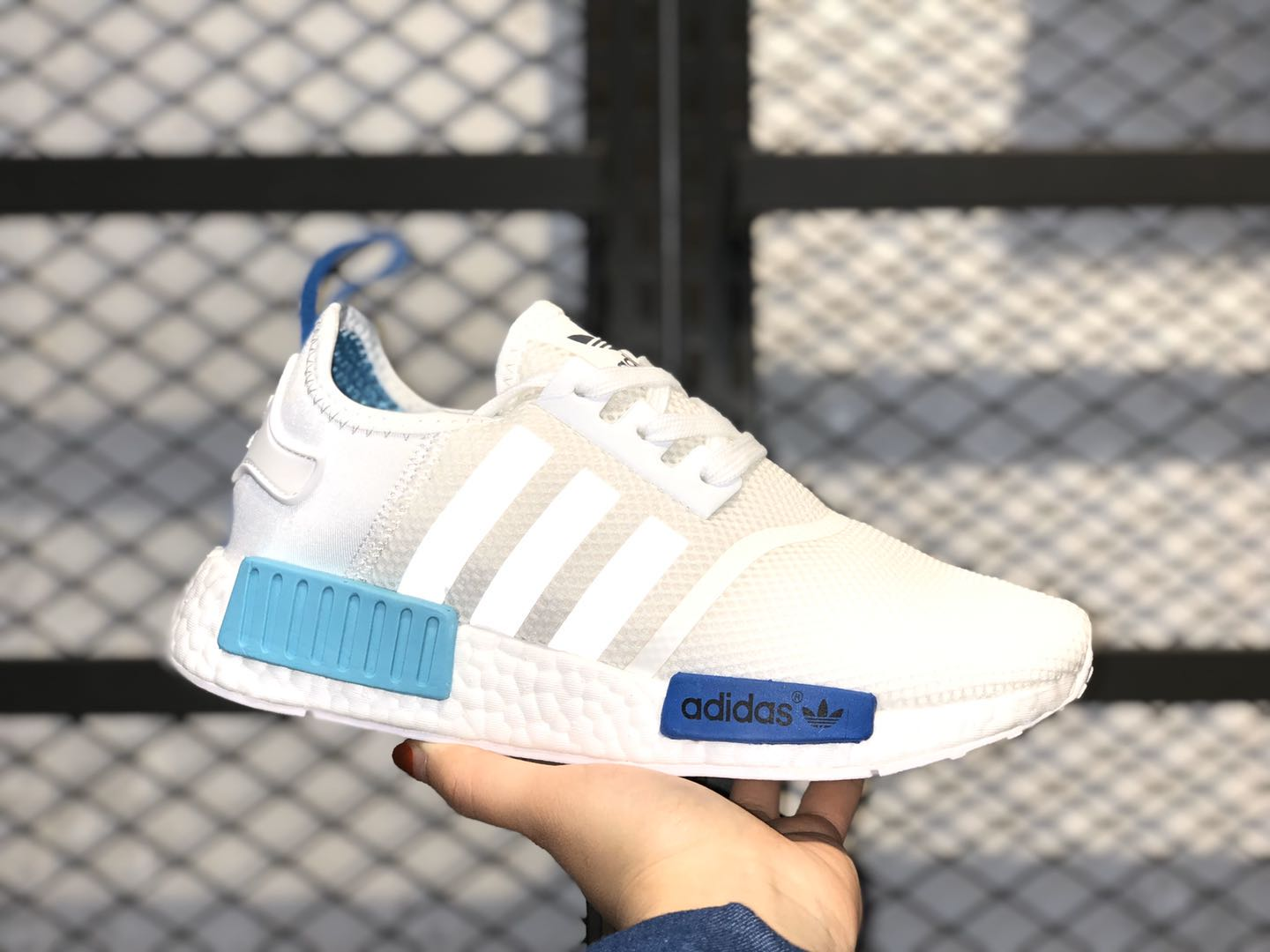 Adidas NMD R1 White/Blue Glow Running Shoes S75235 For Sale