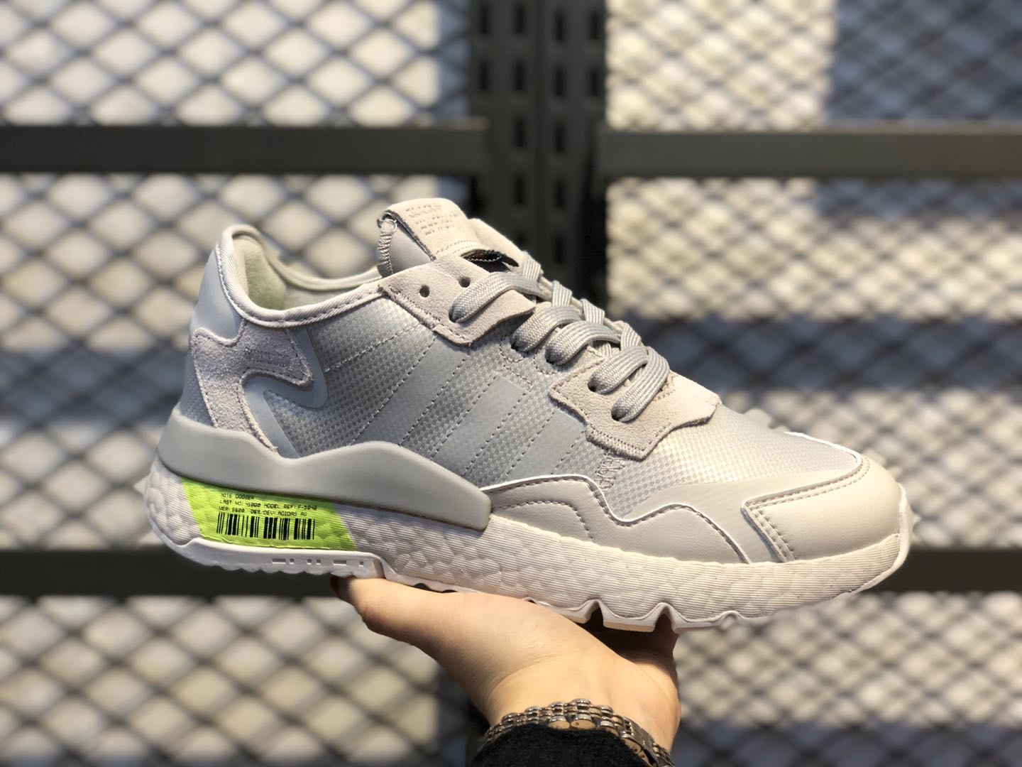 Adidas Nite Jogger 2019 Boost Grey One/Grey Two-Signal Green FV3619