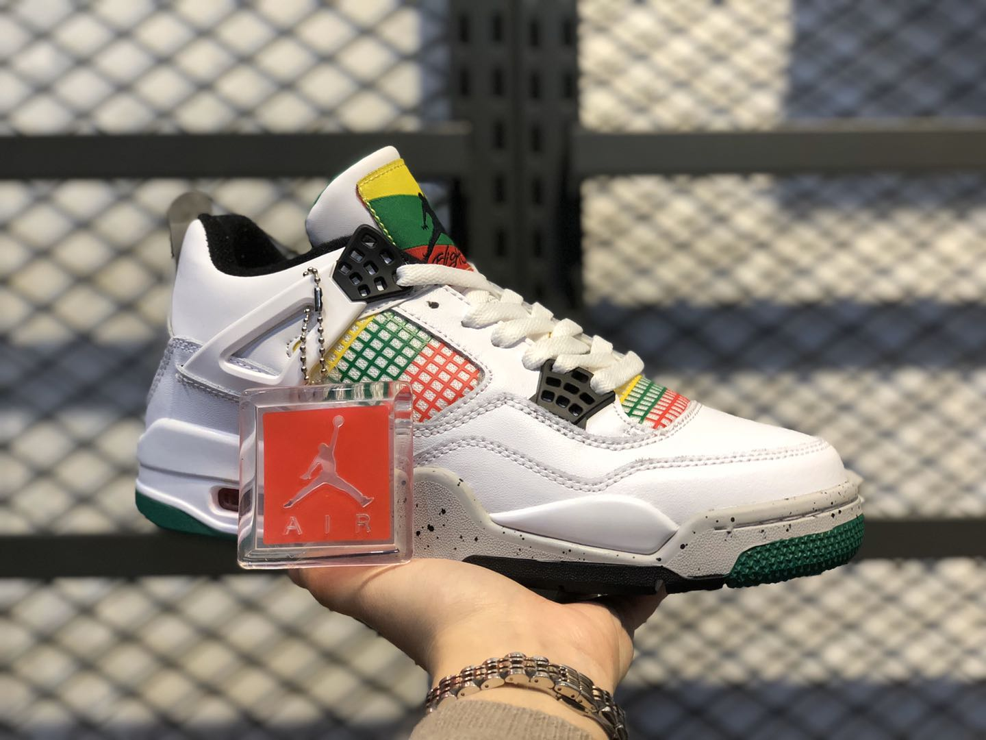 Air Jordan 4 WMNS White/University Red-Lucid Green-Black AQ9129-100