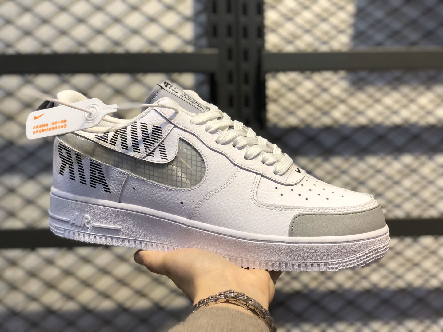"""Nike Air Force 1'07 Low """"Under Construction"""" White/Wolf Grey BQ4421-100"""