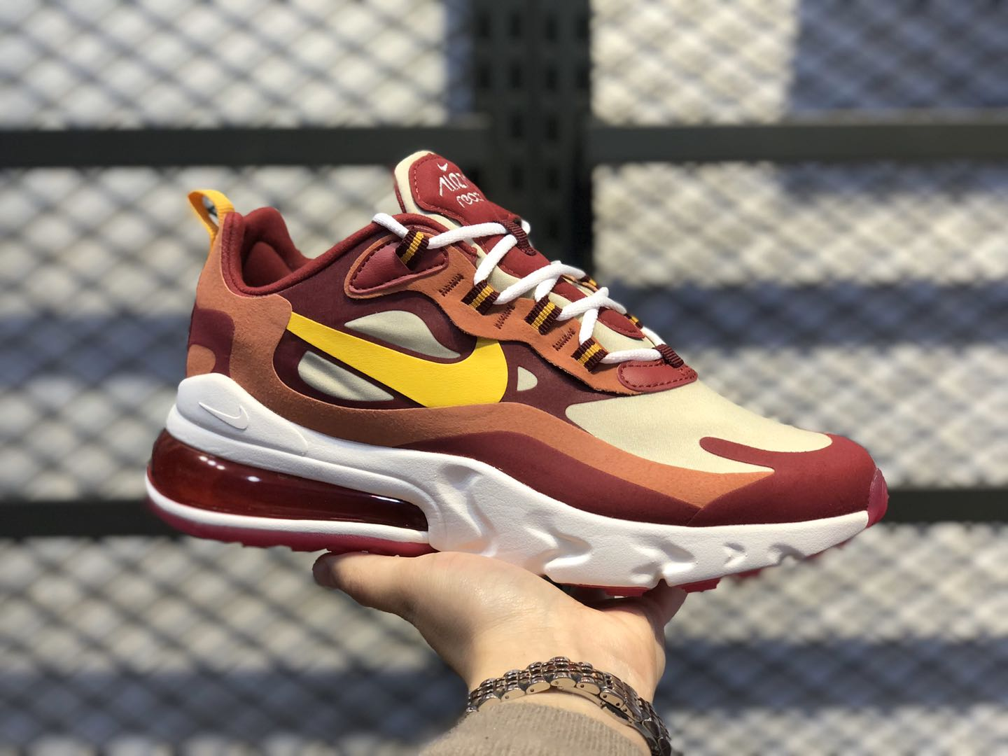 Nike Air Max 270 React Noble Red/Team Gold/Dusty Peach/Dark Sulfur AO4971-601