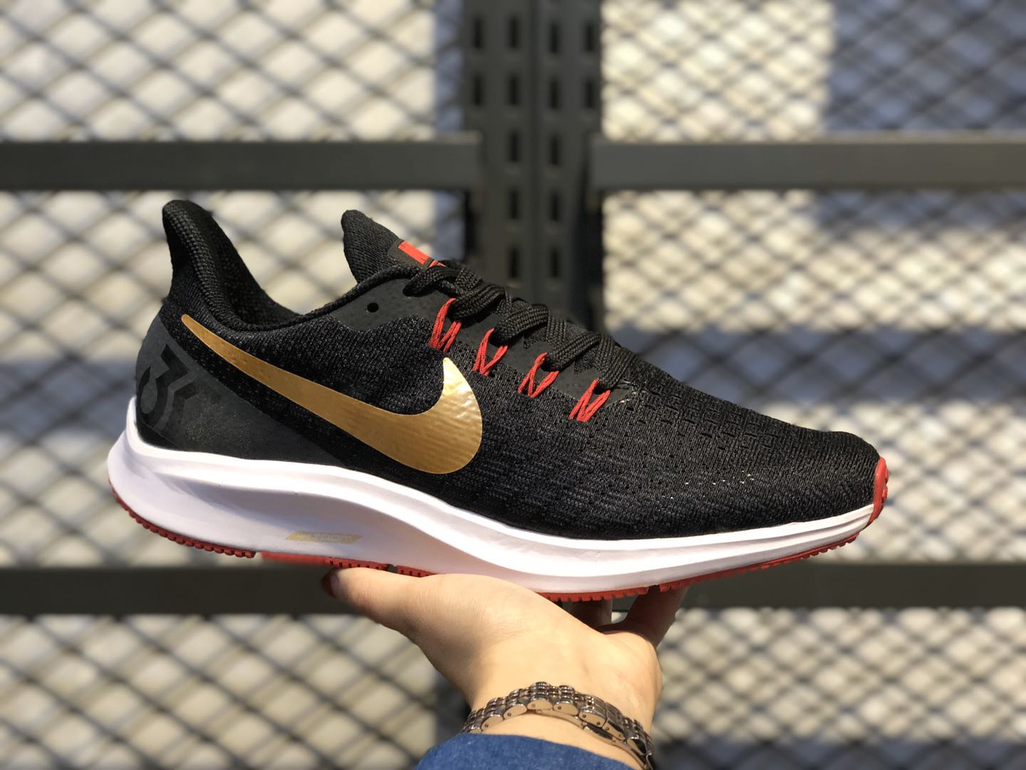 Nike Air Zoom Pegasus 35 Core Black/Gold-Red Running Shoes 942851-018