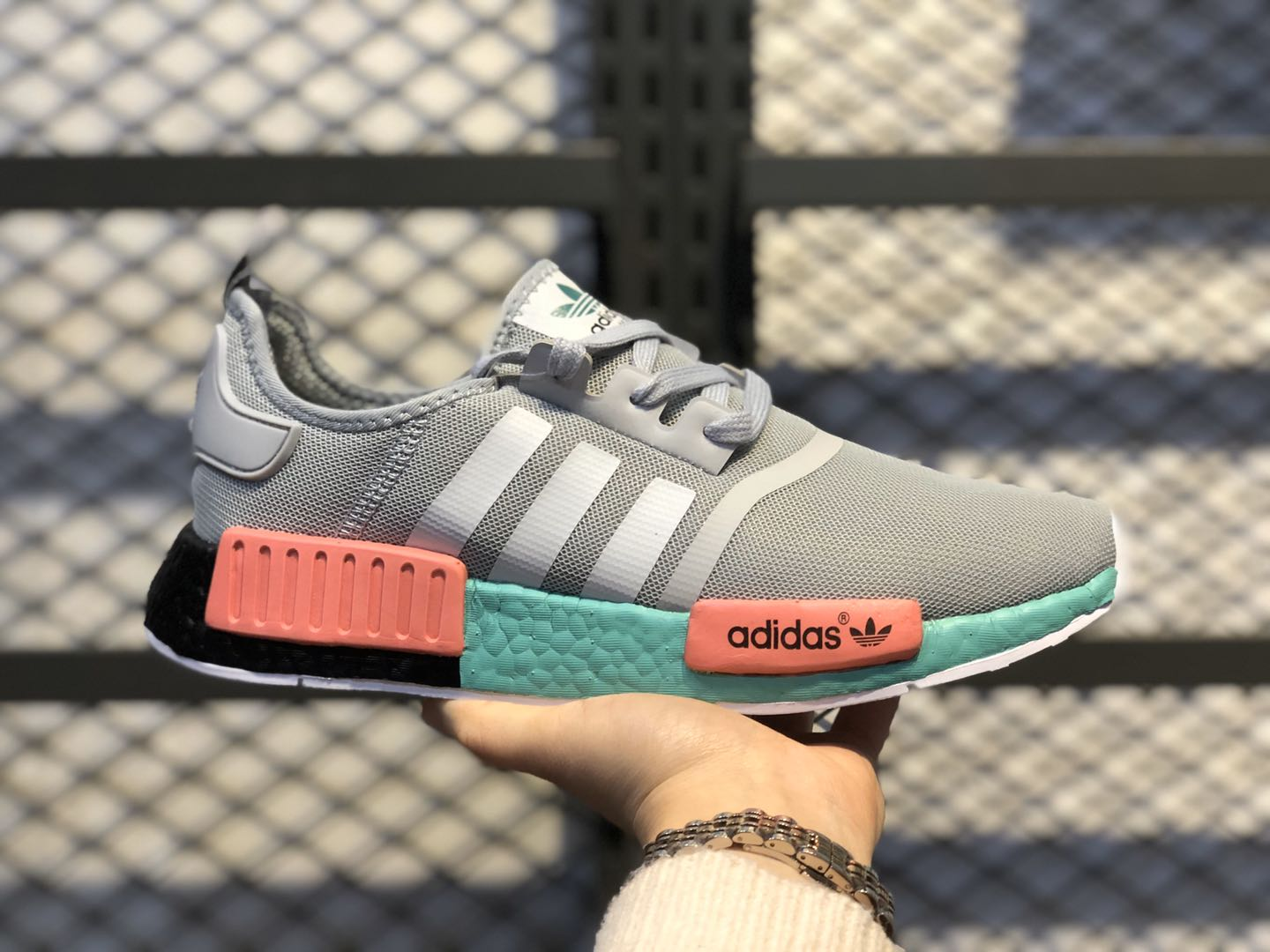 2020 Adidas NMD R1 Grey/Teal-Signal Coral In Stock FX4353