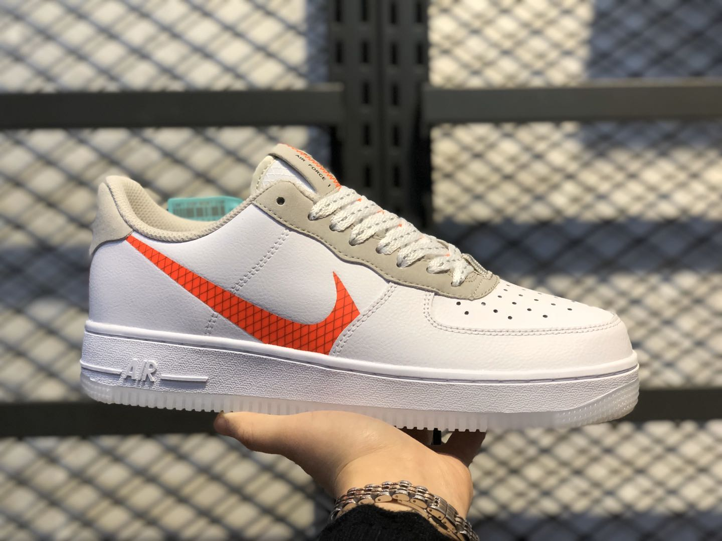 2020 Buy Nike Air Force 1 Low White/Orange Casual Shoes CD0888-100