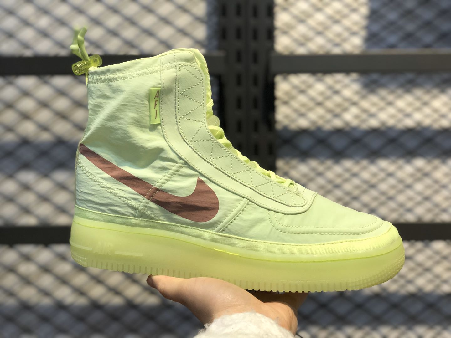 Nike Air Force 1 High Shell WMNS Neon Green/Bronze BQ6096-700