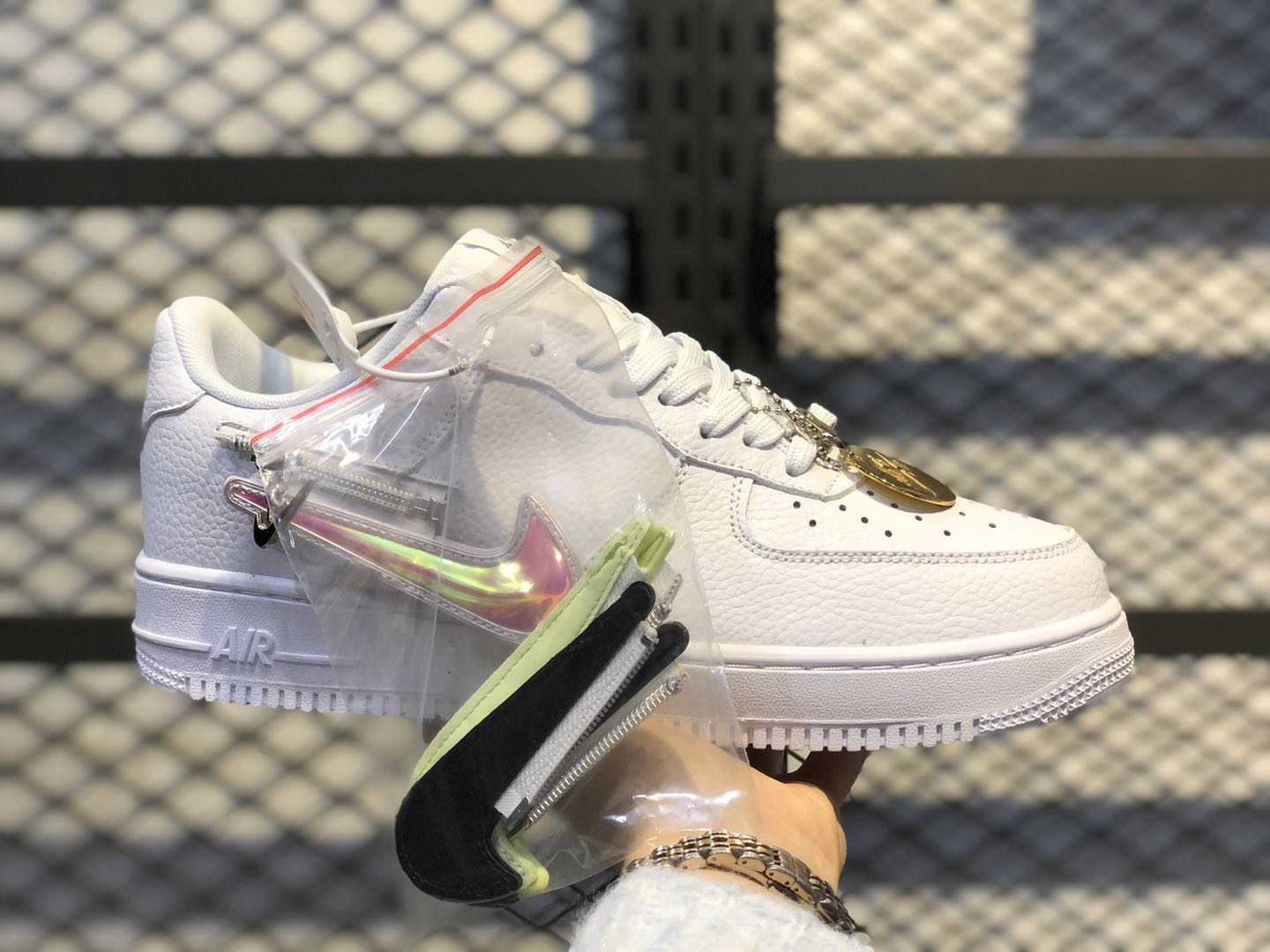 Nike Air Force 1 With Zip-On Swooshes White/Purple-Black CW6558-100