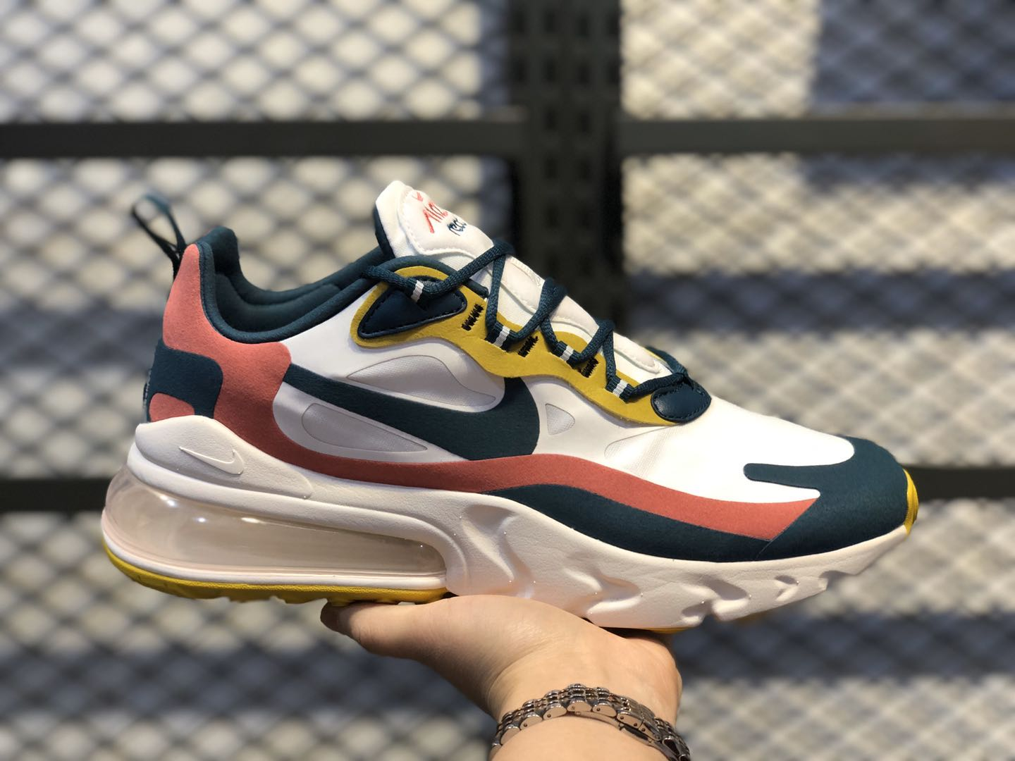 Nike Air Max 270 React Summit White/Midnight Turquoise/Yellow CT1264-103