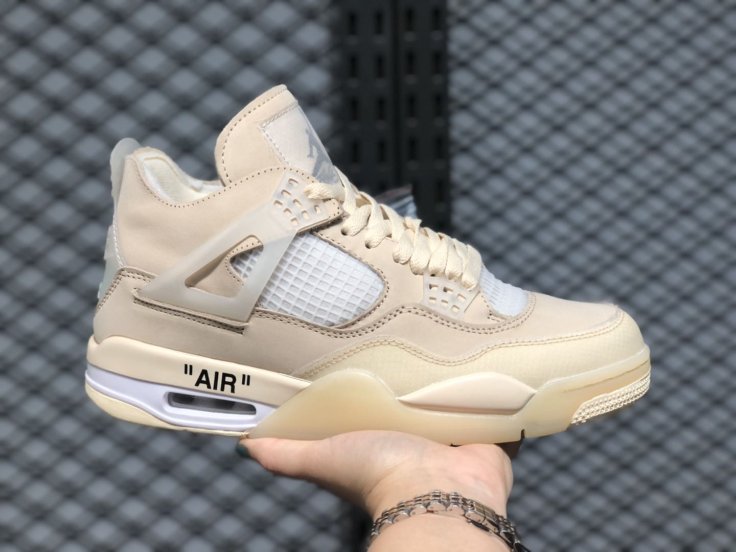 Off-White x Air Jordan 4 Retro Sail Muslin White/Black CV9388 Sale