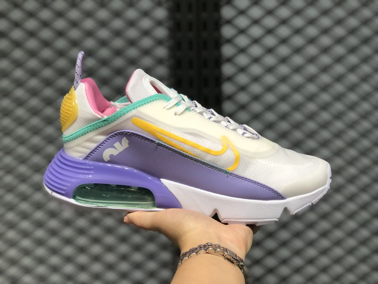 2020 Latest Nike Air Max 2090 White-Violet-Pink-Bright Yellow CT7698-009