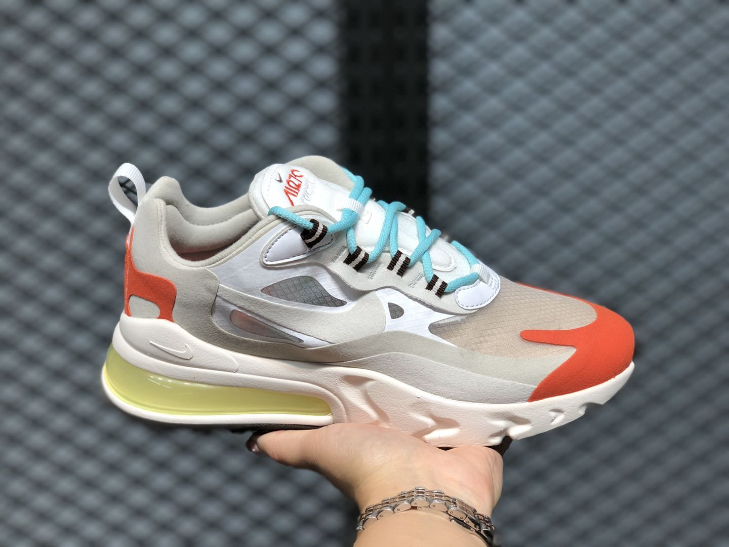 2020 Latest Nike Air Max 270 React Light Beige Chalk/Team Orange AT6174-200