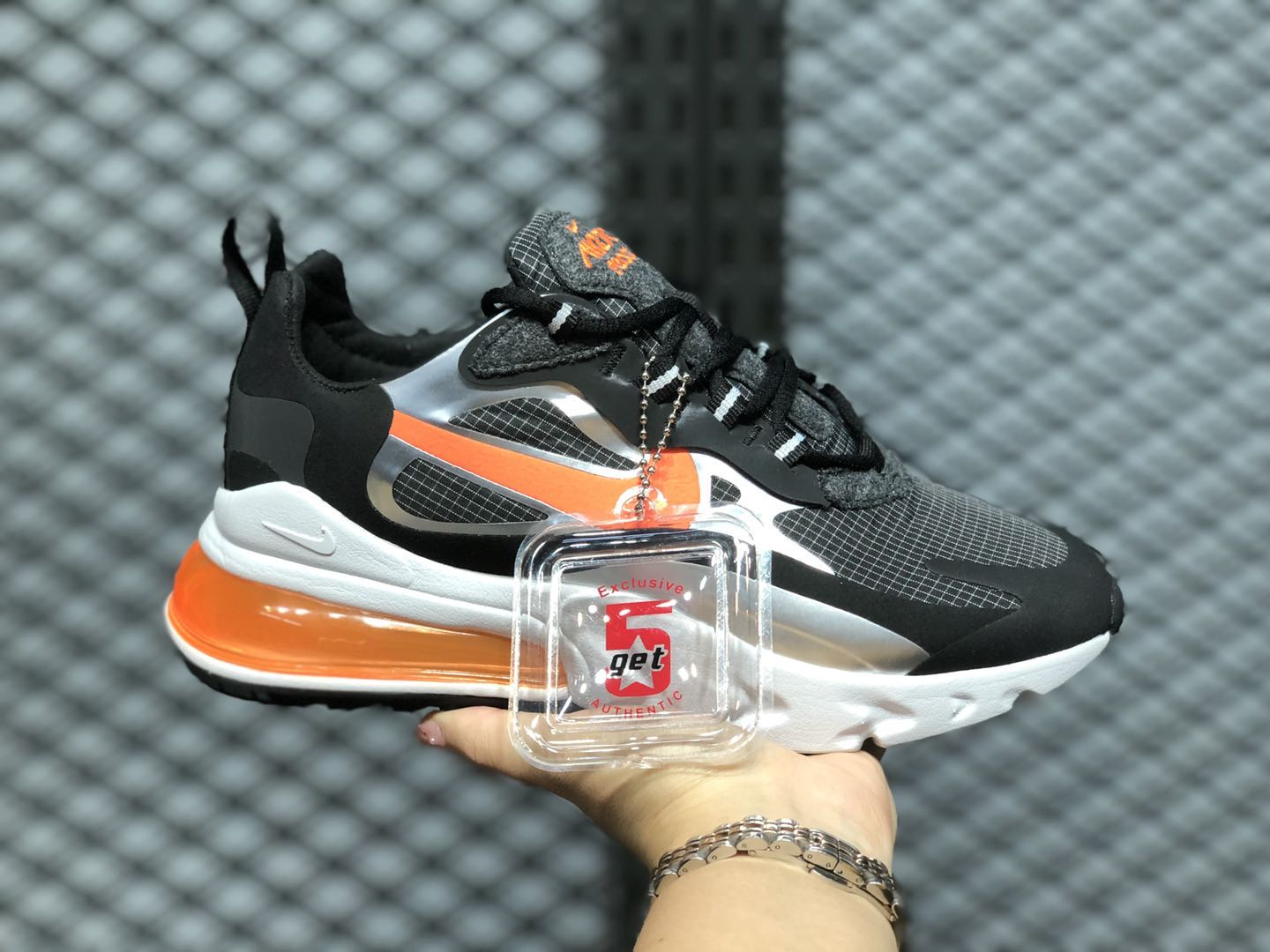 Nike Air Max 270 React Black/Total Orange-Metallic Silver CQ4598-084