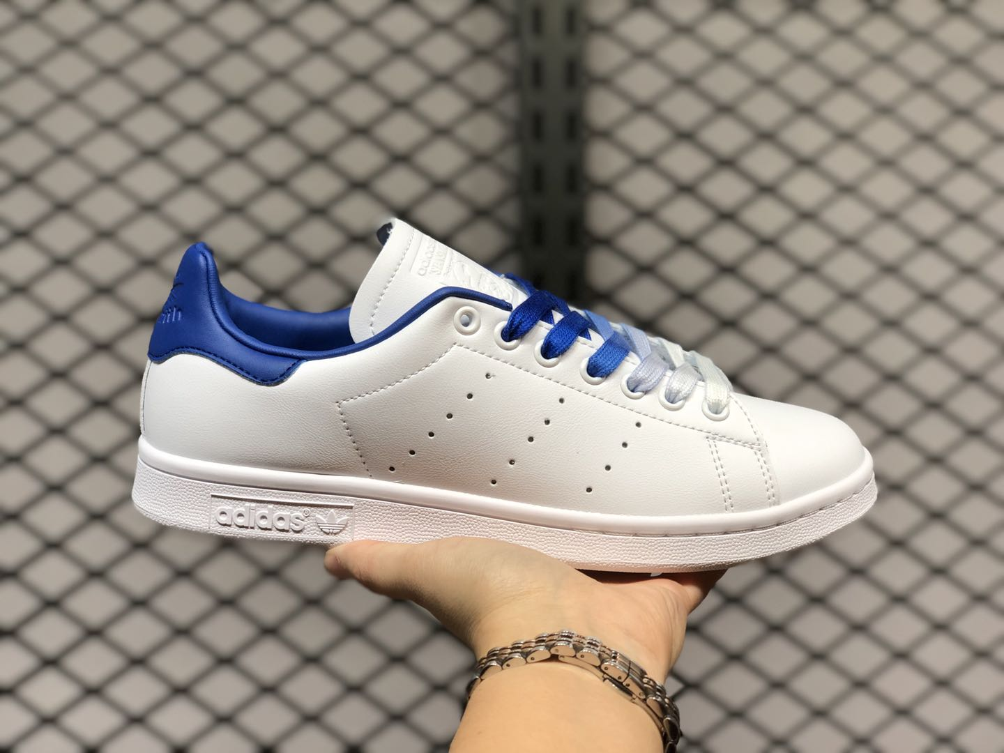 Adidas Stan Smith Shoes Cloud White-Royal Blue Online Buy EF4690