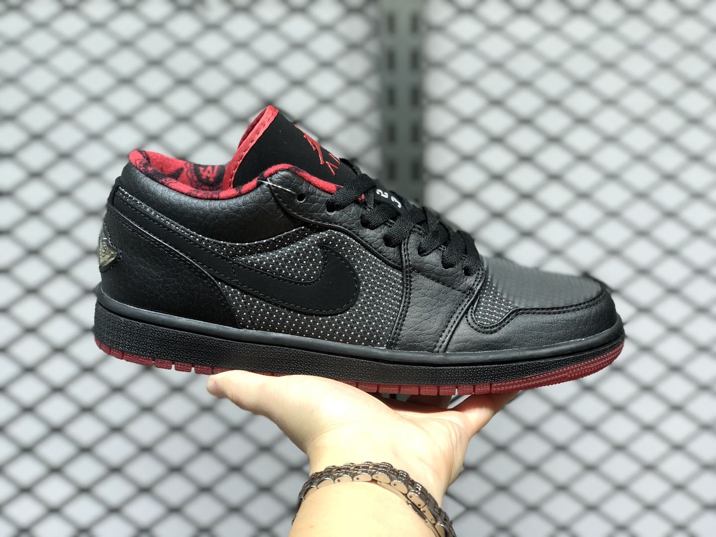 2020 Latest Air Jordan 1 Low Black/Metallic Silver-Varsity Red 309192-001