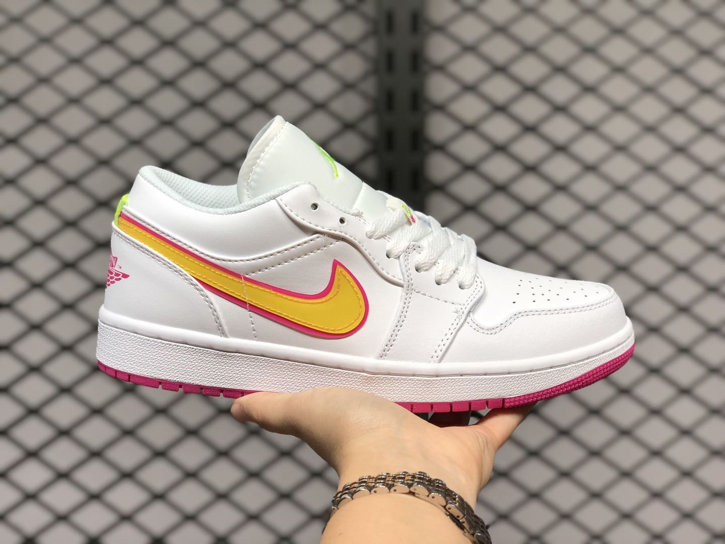 Air Jordan 1 Low GS White-Pink-Yellow Shoes Outlet Online CU4610-100