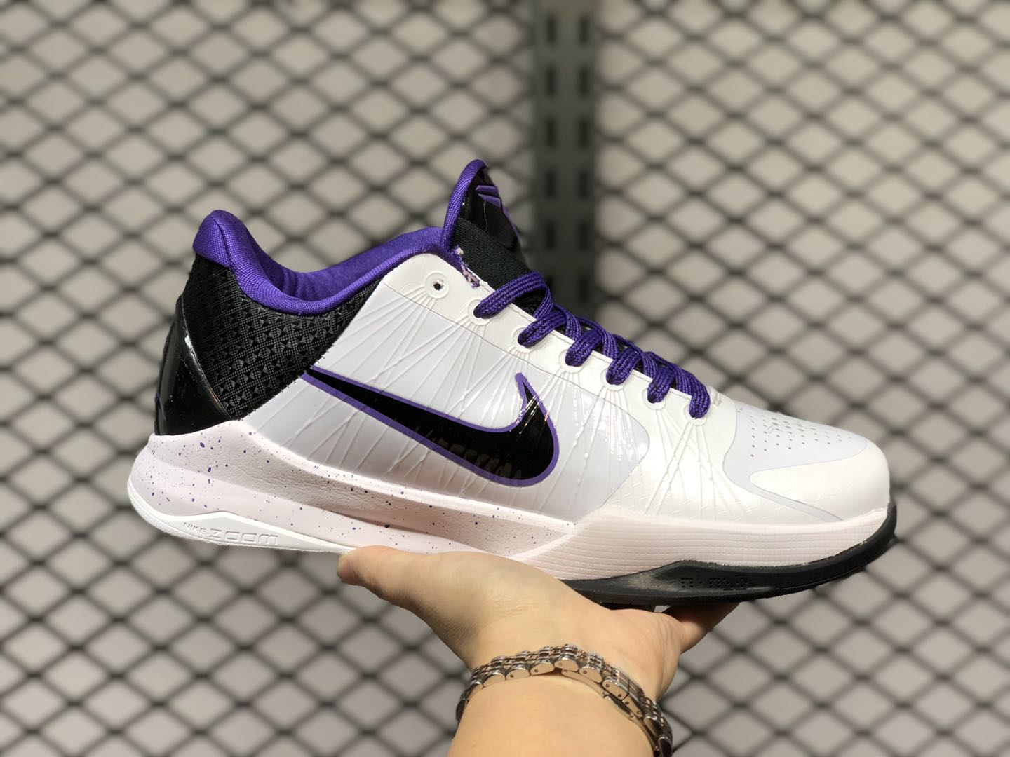 Nike Zoom Kobe 5 White/Black/Varsity Purple Basketball Shoes 386429-101