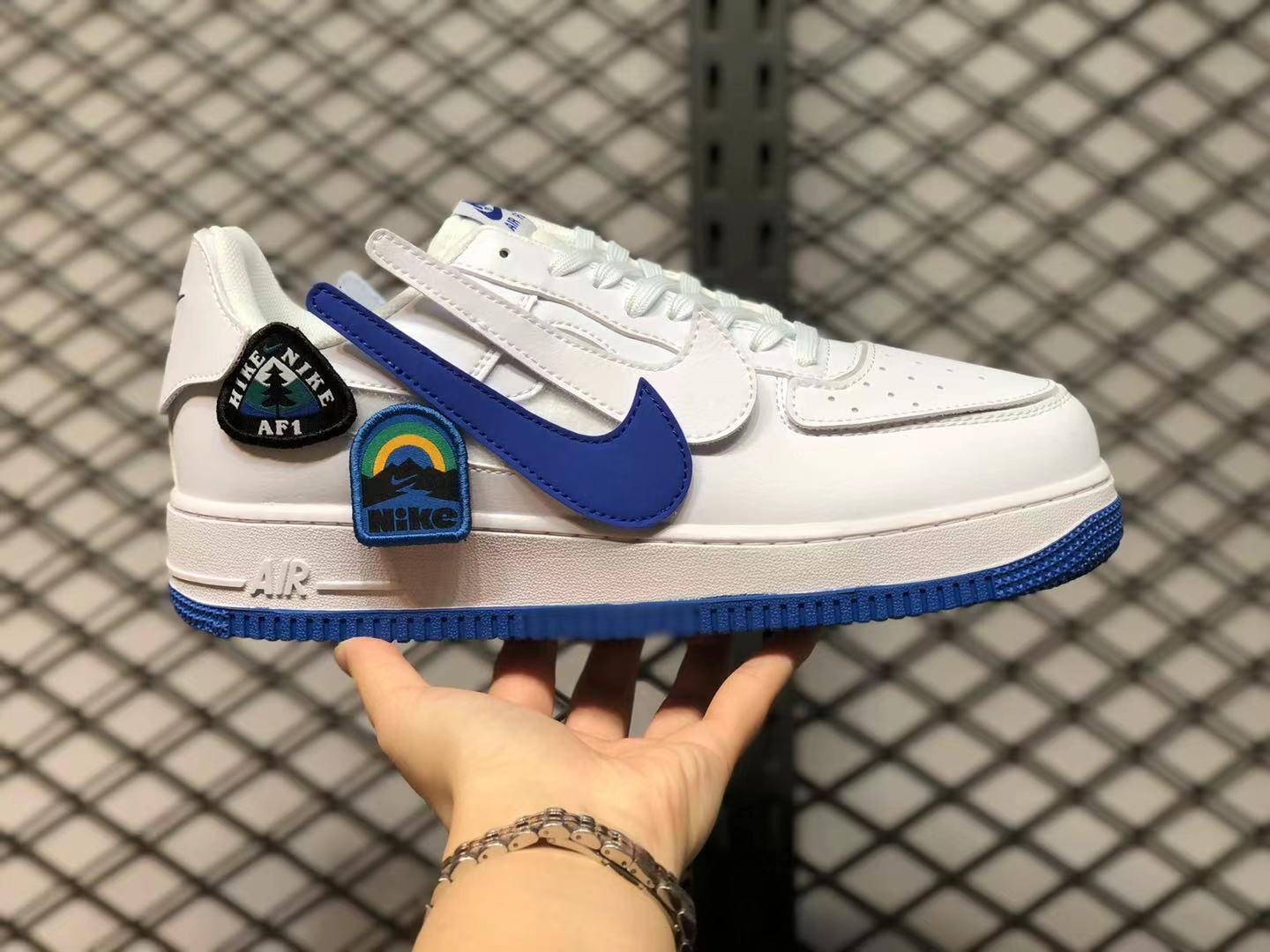 White Blue Velcro Air Force 1 Low With Outdoor-Inspired Patches